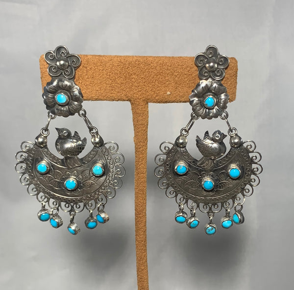 Oaxacan Turquoise Fringe Bird Clip Earrings by Federico Jimenez