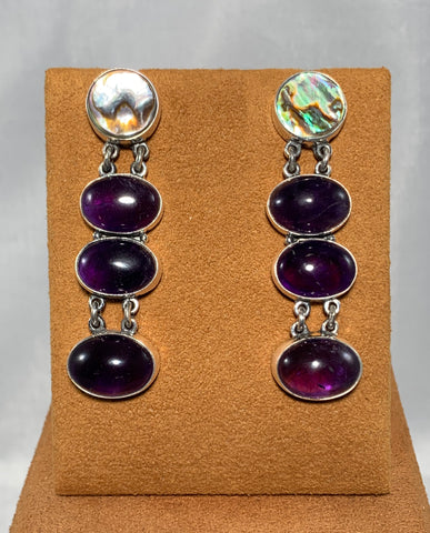 Amethyst and Shell Post Earrings by Federico Jimenez