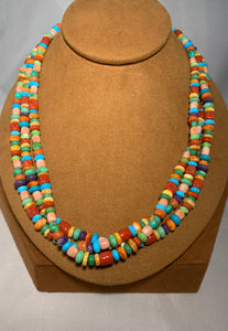 Three Strand Multi Semi Precious Stone Necklace