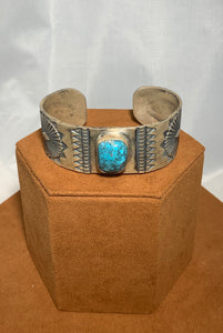 Wide Stamped Turquoise Ingot Cuff by Don Lucas