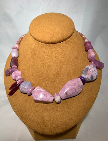 Hand Carved New Mexican Lepidolite Statement Necklace by John Hull of Gloria Sawin Fine Jewelry