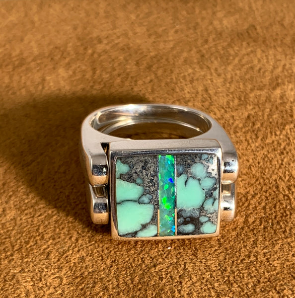 Double Delight Turquoise and Opal Reverisble Ring by Gloria Sawin Fine Jewelry