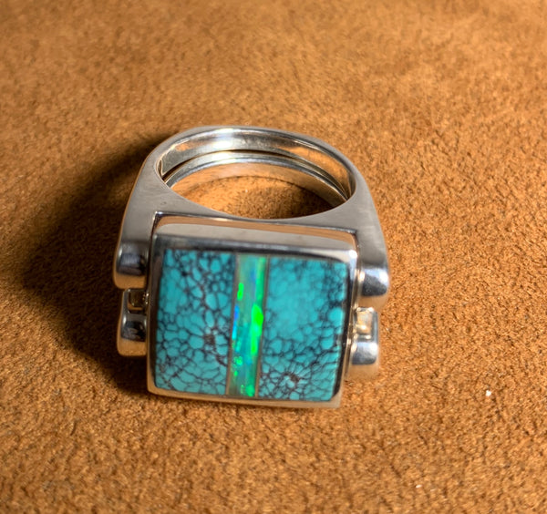 Double Delight Turquoise, Rosarita and Opal Reverisble Ring by Gloria Sawin Fine Jewelry