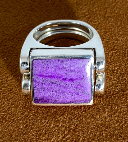 Sugilite Turquoise Double Delight Reversible Ring by Gloria Sawin