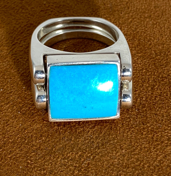 Copy of Rosarita and Turquoise Double Delight Reversible Ring by Gloria Sawin