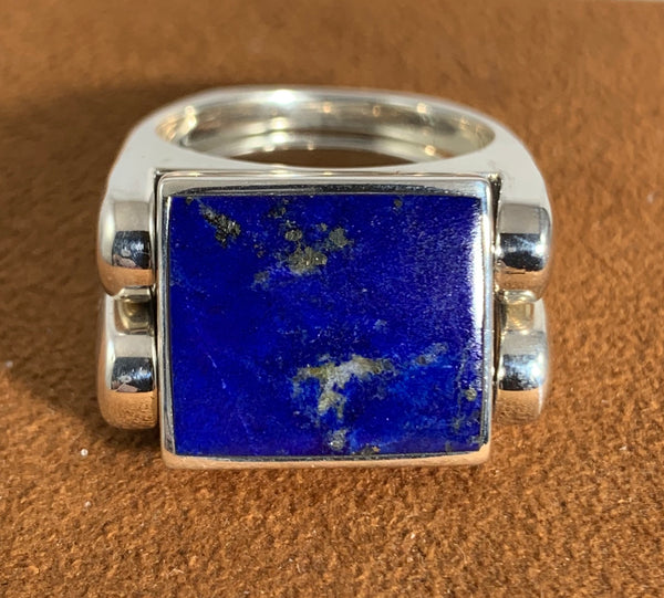 Lapis and Magnesite Double Delight Reversible Ring by Gloria Sawin
