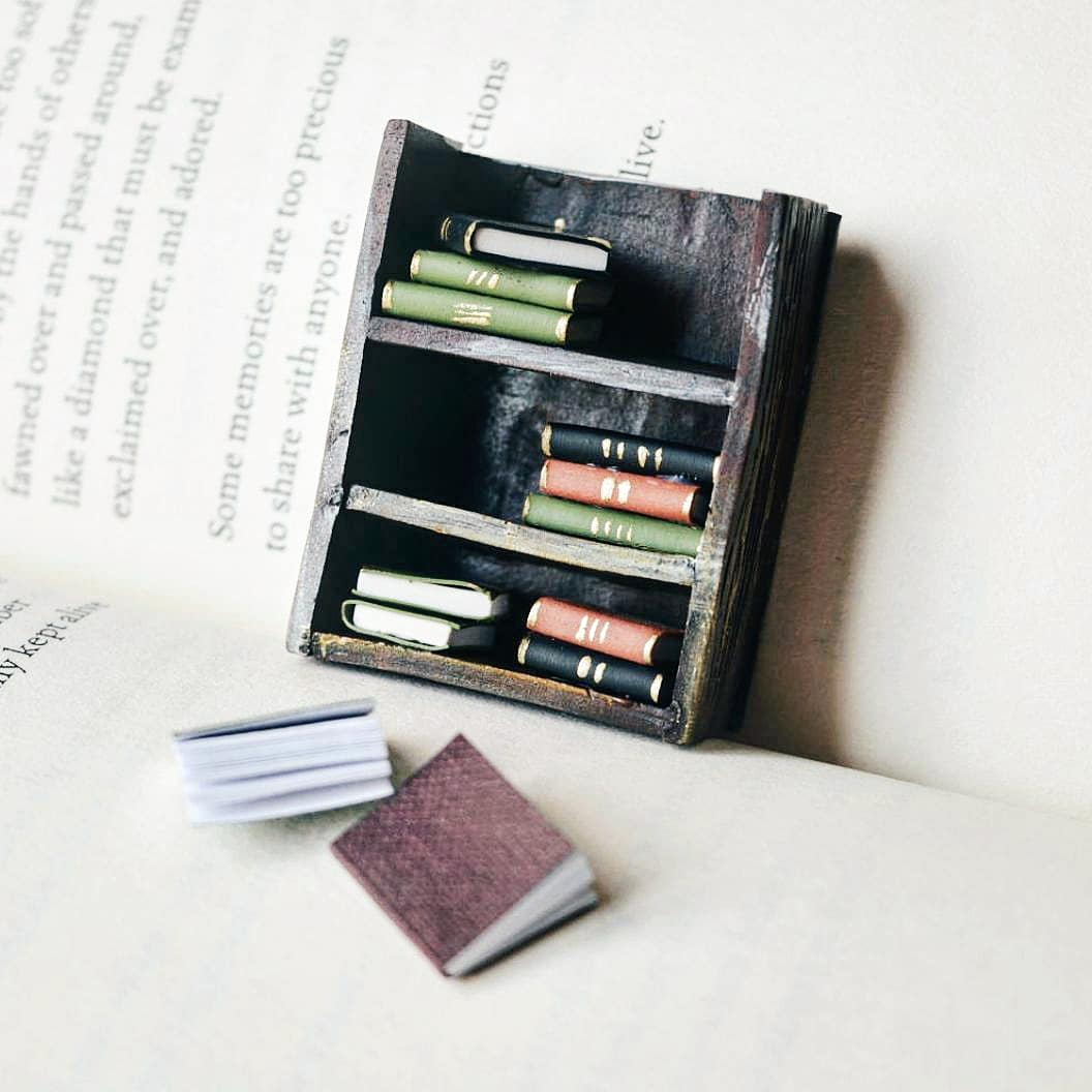 Miniature Bookshelf with Books Collectible - 1 piece