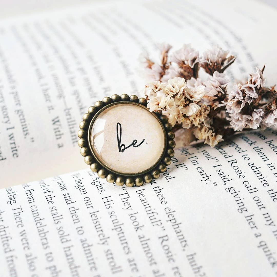 Be - Bookish Quote Adjustable Finger Ring
