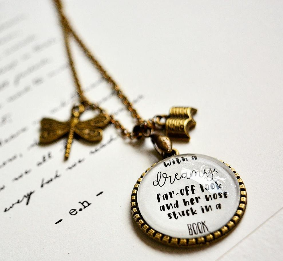 With a dreamy far off look... - Beauty and the Beast Quote Pendant