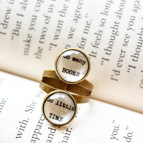 So many books, so little time - Adjustable Bookish Quote Finger Ring