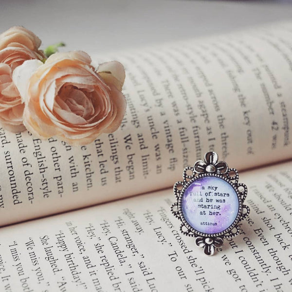 A sky full of stars and he was staring at her - Atticus Quote Adjustable Ring