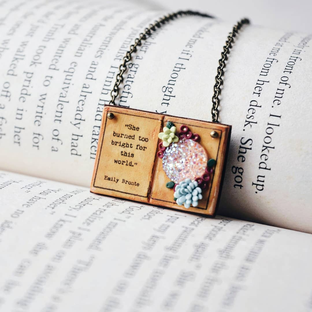 She burned too bright for this world - Emily Bronte Quote Book Page Pendant