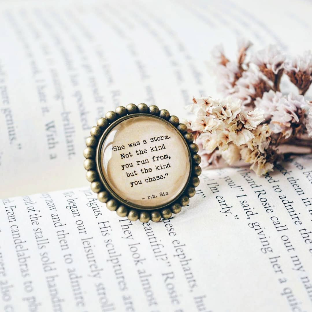 She was a storm-  Quote Bookish Adjustable Finger Ring