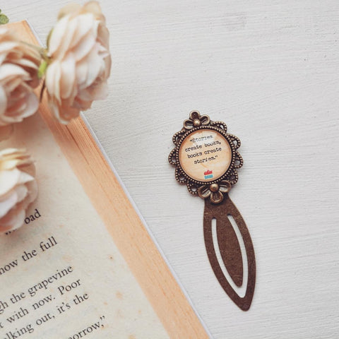 Stories create books, books create stories  - Bookish Quote Bookmark