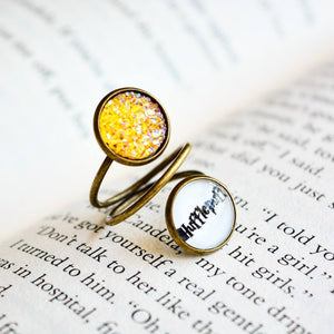 Hufflepuff House -Harry Potter Spiral Adjustable Ring