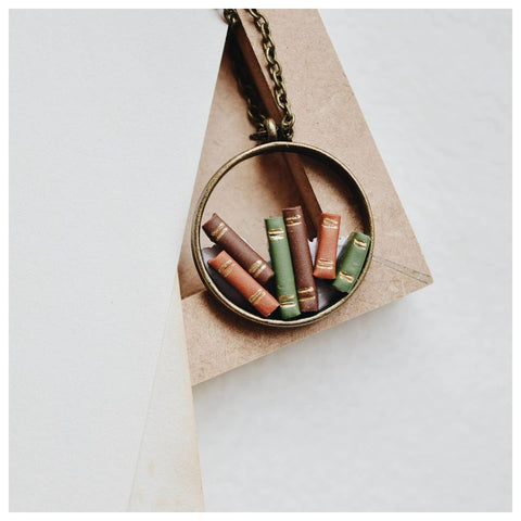 Bookish Stack Hollow Pendant