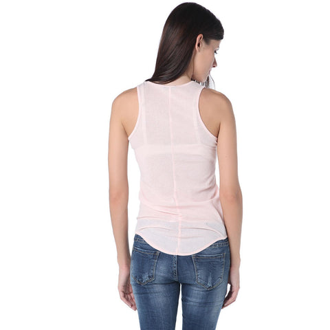 Pink Tank Top With Halter Neck