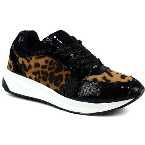 Curved Sole Trainer Leopard