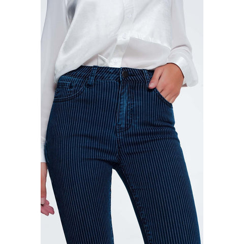 Striped Skinny Blue Jeans