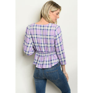 Lilac Checkered Top