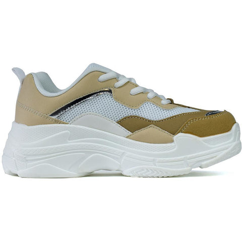 The Chunky Trainer Nude/White/Silver