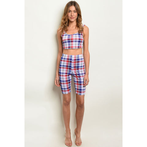 Womens Multi Stripes Top & Shorts Set