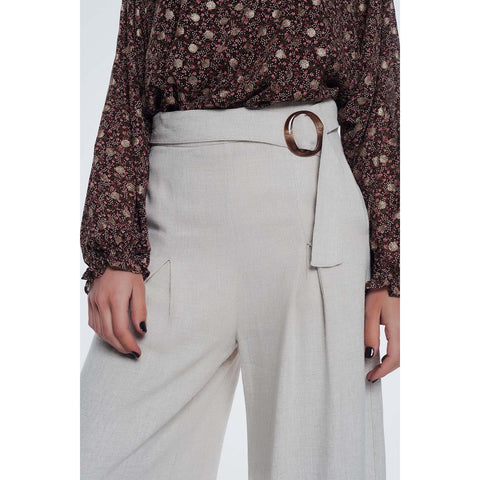 Beige Belted High Waist Wide Leg Trouser