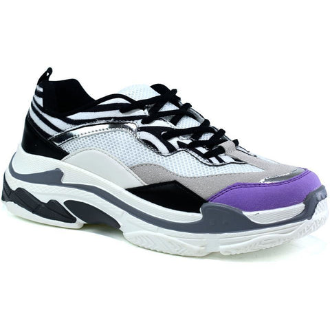 The Chunky Trainer White/Lilac/Grey