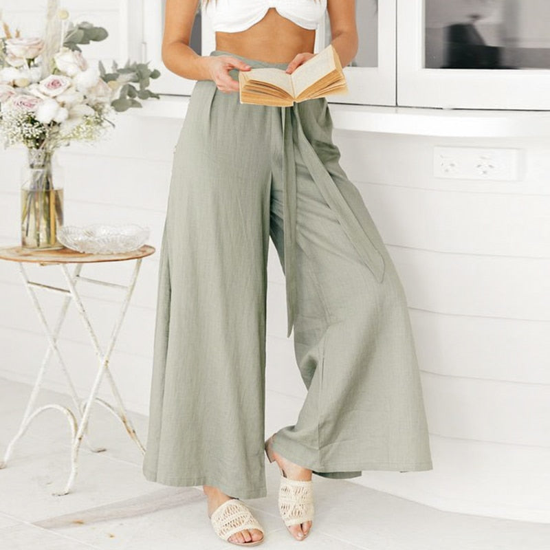 Comoto Solid High Waist Casual Summer 2019 Wide Leg Women Pants Button Split Sexy Female Solid Beach Trousers Belt Tie Bow Pants