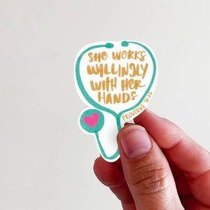 She Works Willingly Sticker - Global Hues Market