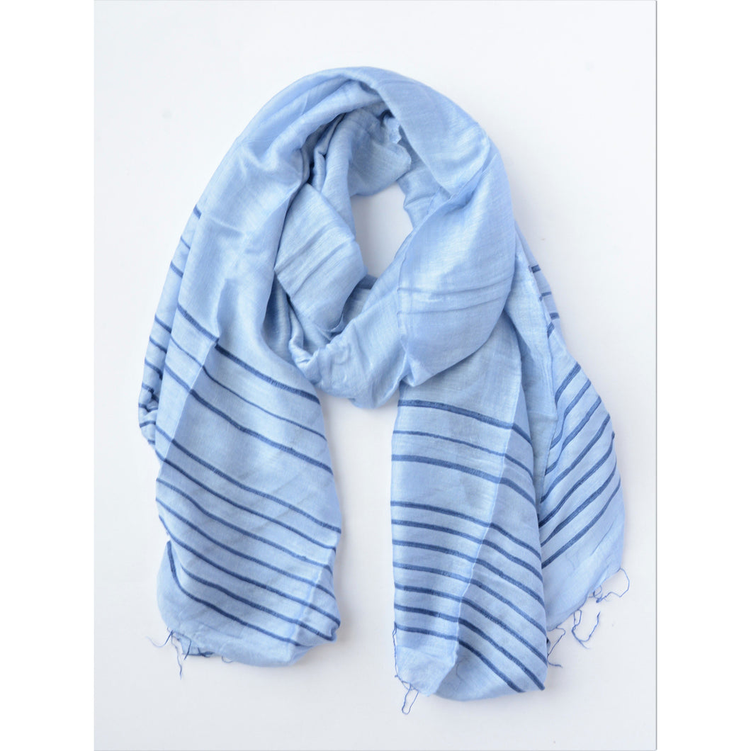 Anh Striped Scarf {periwinkle} - Global Hues Market