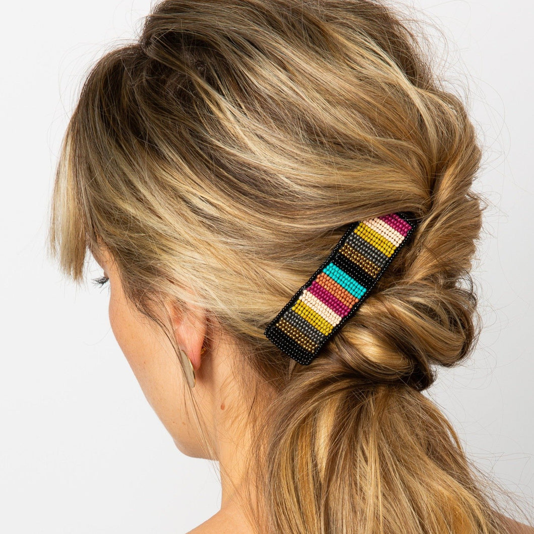 Beaded Stripe Hair Barrette {muted multi} - Global Hues Market