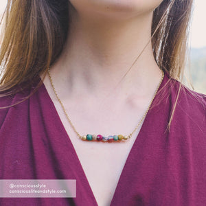 Kantha Horizontal Bar Necklace - Global Hues Market