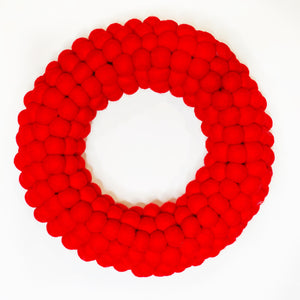 Felt Ball Wreath {red} - Global Hues Market
