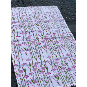 Khushbu Flowers Tea Towel {pink & green} - Global Hues Market