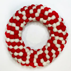 Felt Ball Wreath {red & white} - Global Hues Market