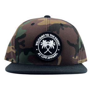 Welcome To The Desert Camouflage/Black 6 Panel Snapback Hat