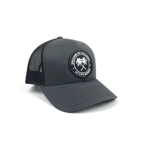 Welcome To The Desert Dark Gray / Black Trucker Snapback Hat