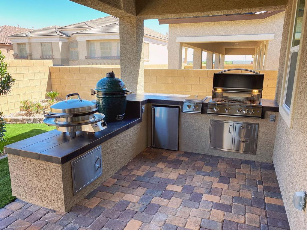 Beat the Heat with this Covered Patio, Built-in Custom Grill Island, and Retractable Glass Walls in Las Vegas