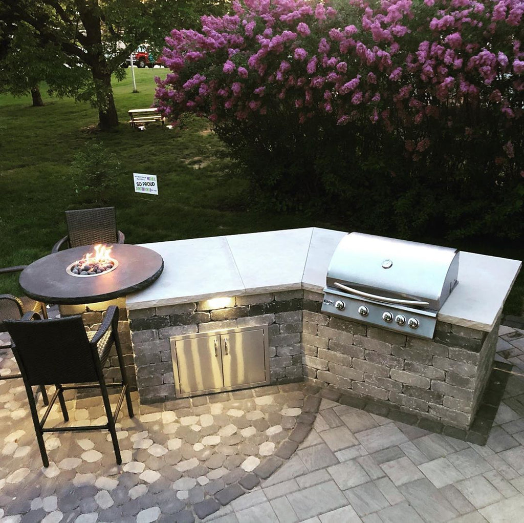 Chic and Smart, Custom Grill Island, Pub Table, Enchanted Summer Garden Sunsets in Minnesota
