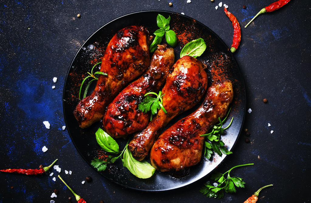 Fourth of July Grilled Chicken Drumsticks with Bourbon-Cherry BBQ Sauce