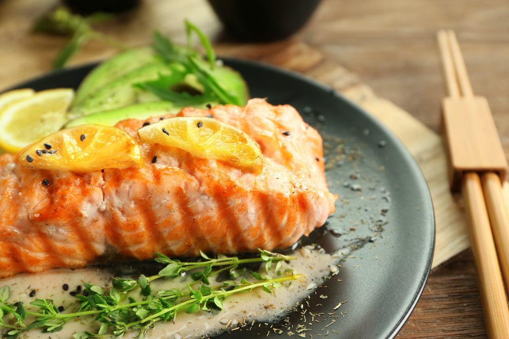 Grilled Crispy-Skinned Salmon with Whole Lemon-Sesame Sauce – Sizzling Summer Series