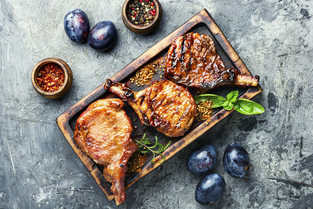 Grilled Pork Chops with Plums, Red Onions, and Arugula – Autumn Grilling Series