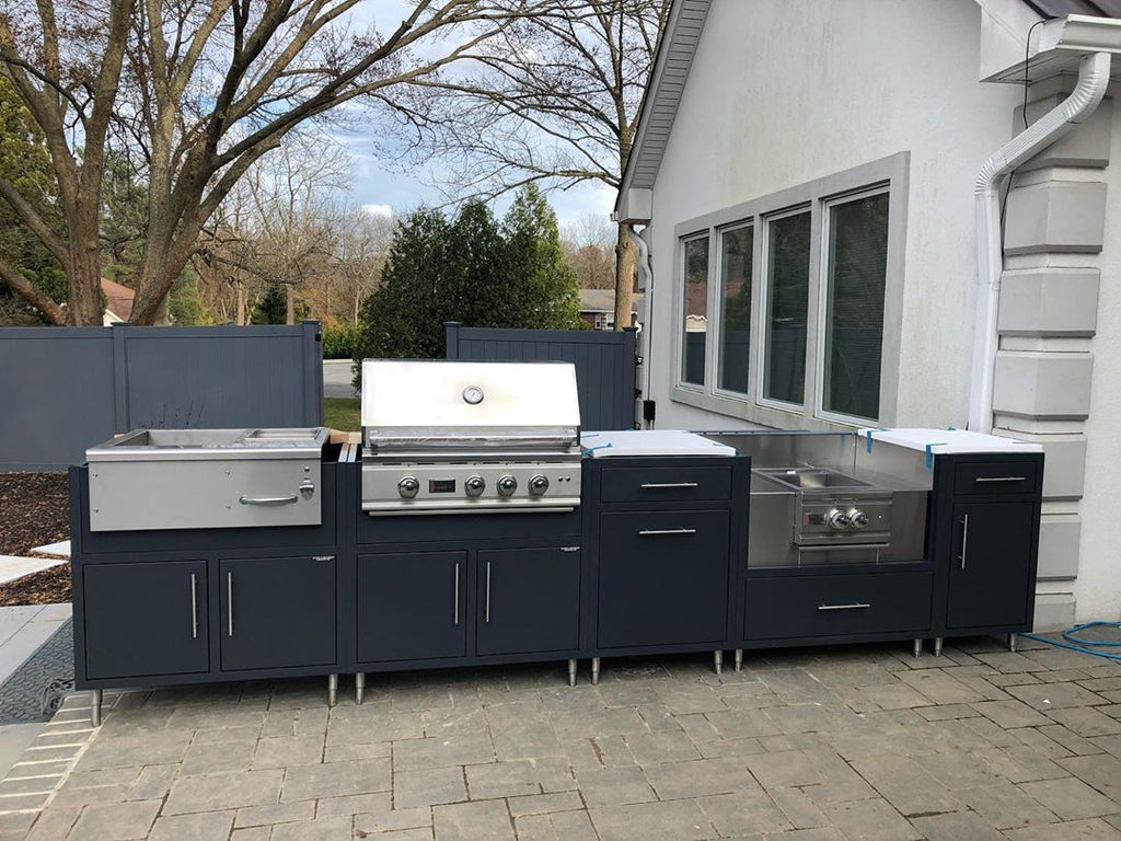 Modern and Sleek, Free Standing Island, Midnight Blue, Versatile Outdoor Kitchen in Suburban New York