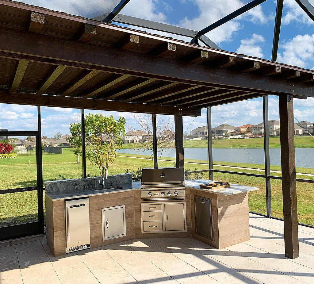Modern & Warm, Porcelain Tile Grill Island, Giant Pergola, Loving the Sun Year-round in Orlando