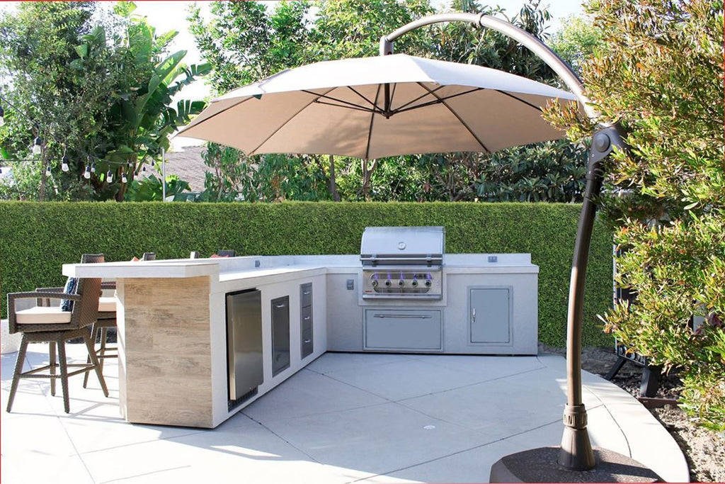 Refreshing & Bright Retreat, White Grill Island, Oversized Umbrella, Complete Outdoor Kitchen With a California Vibe