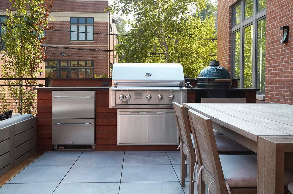 Simple and Sleek, Grill and Smoke, Compact Roof Deck Kitchen in Chicago