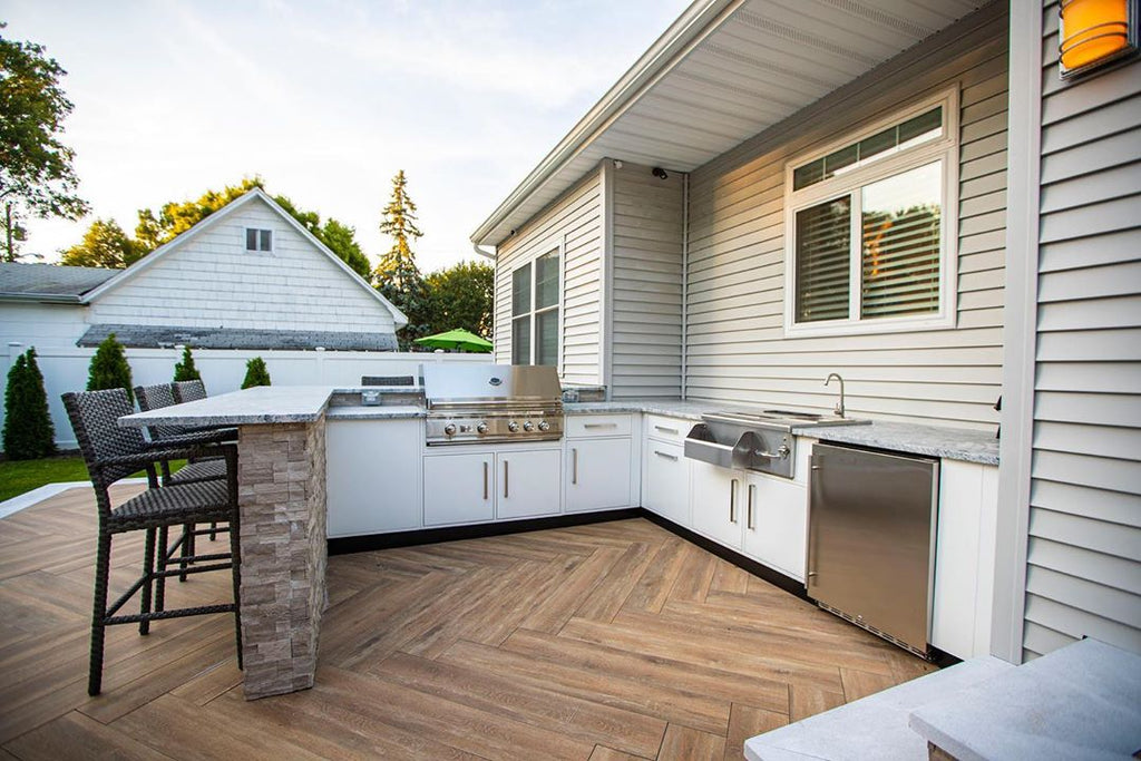 Sleek Kitchen, Charming Pergola, Warm Herringbone Deck, Outdoor Getaway