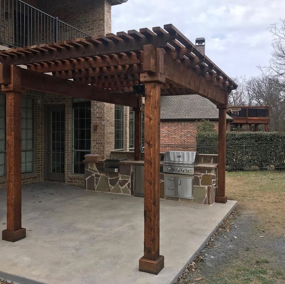 Warm and Functional, Grand Pergola, Stone Grill Island ... on Summerset Outdoor Living id=95944