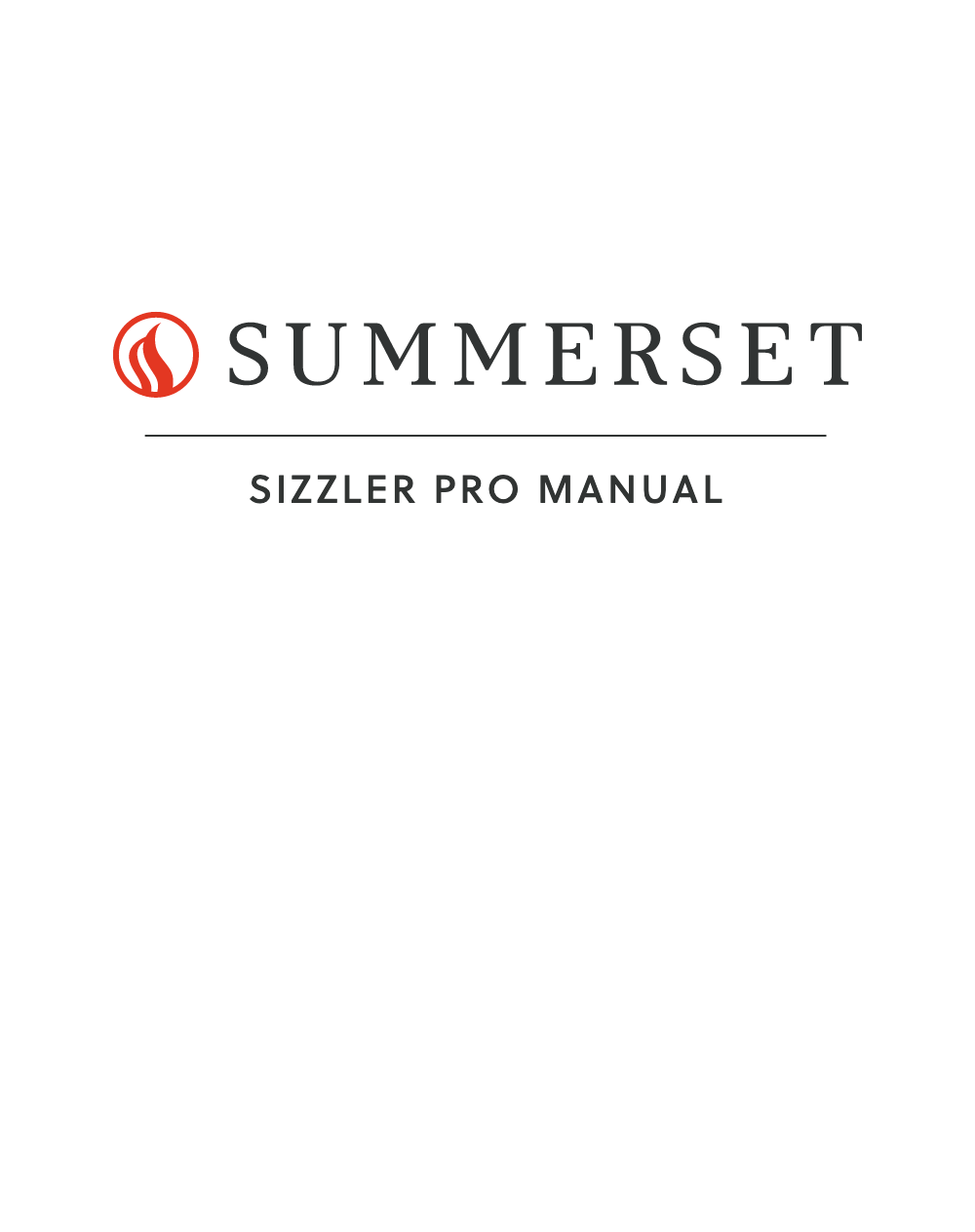 Summerset Sizzler Pro Manual